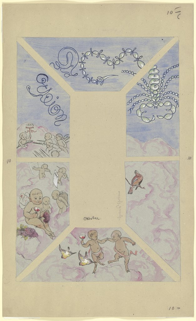 """October"". Design for a Ceiling Painting for the Café Bauer, Hans Thoma"