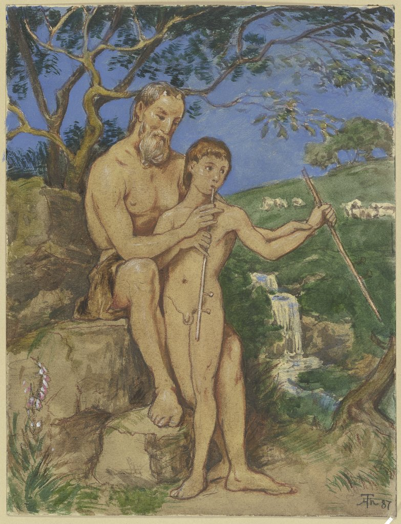 Old and young faun, Hans Thoma