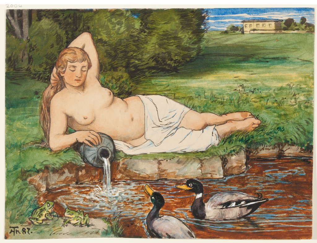 Nymph by a Brook, Hans Thoma
