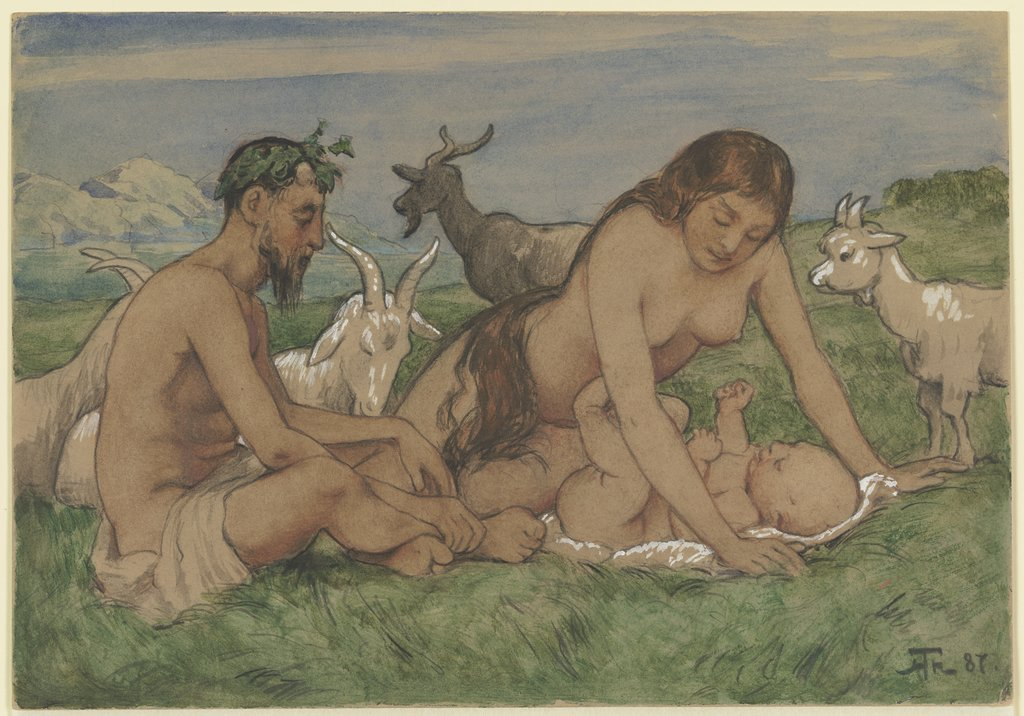 Family of Fauns, Hans Thoma