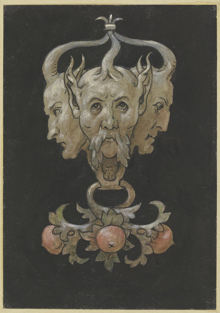 Three sayrtyr masks, Hans Thoma