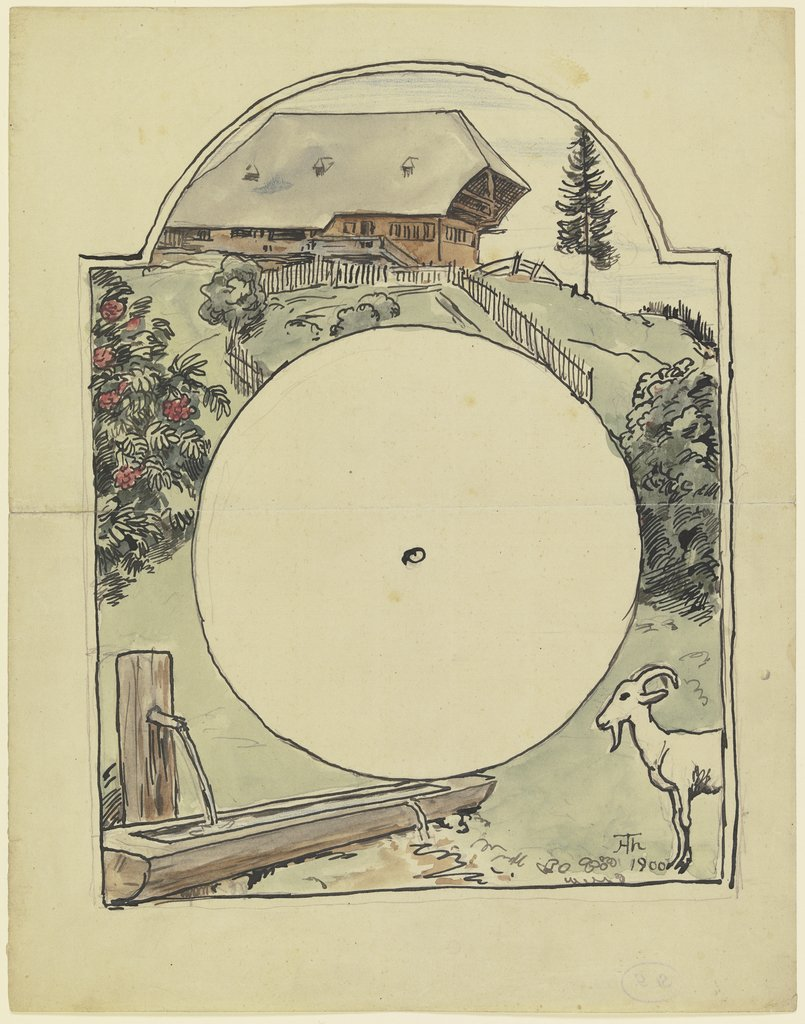 Black Forest Clock Shield with Well, Hans Thoma