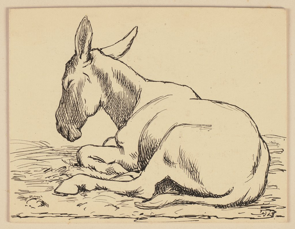 Drawing for the primer: Donkey, Hans Thoma