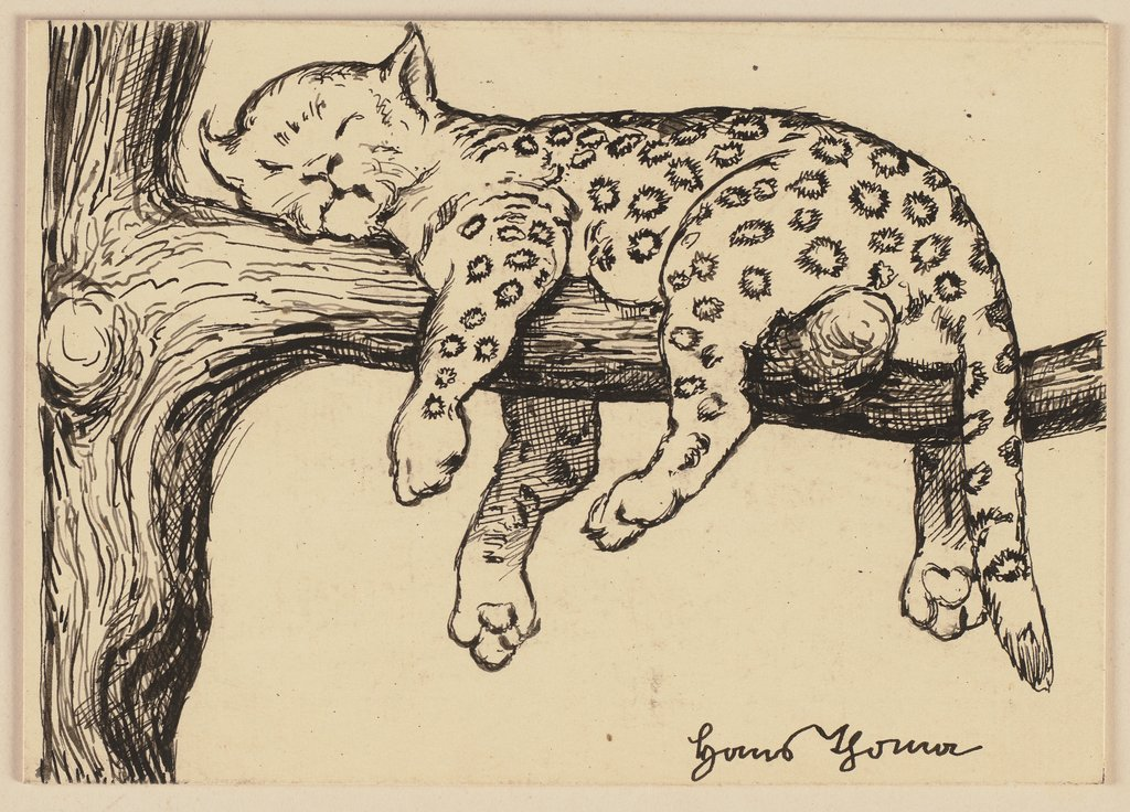 Drawing for the Primer:  Leopard, Hans Thoma