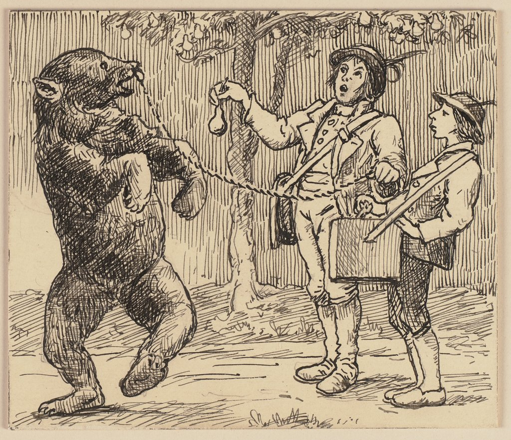 Drawing for the primer: Bear, Hans Thoma