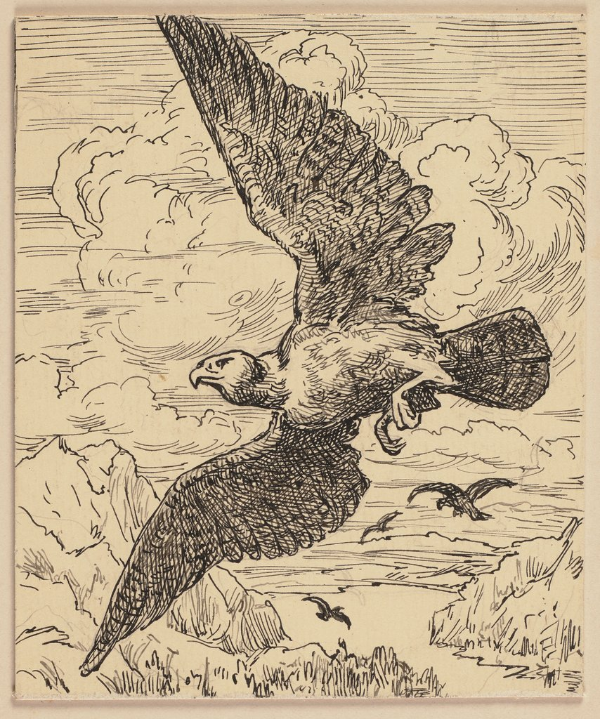 Drawing for the primer: Bird, Hans Thoma