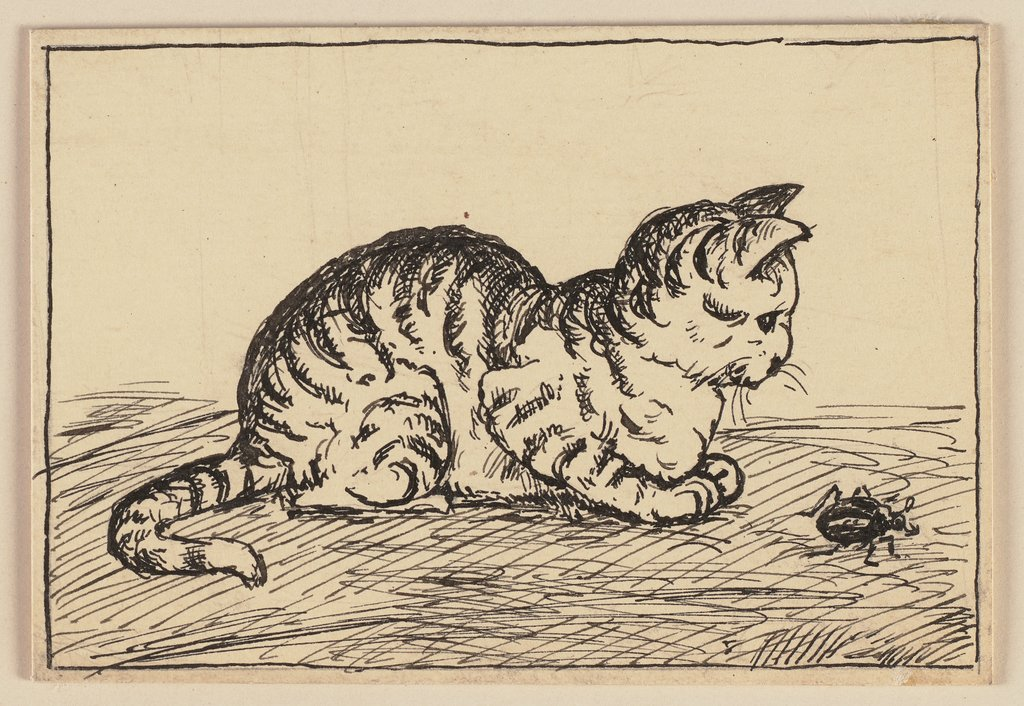 Drawing for the primer: Cat, Hans Thoma