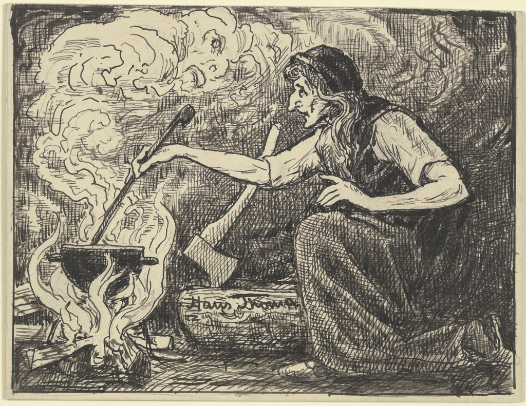 Witches' kitchen, Hans Thoma