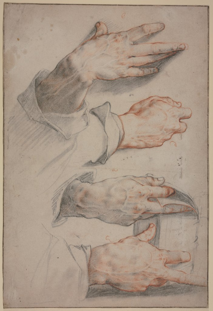 Four studies of a right hand, Hendrick Goltzius