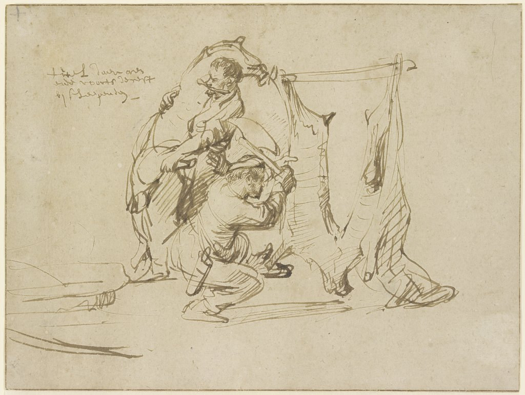Two butchers, Rembrandt Harmensz. van Rijn