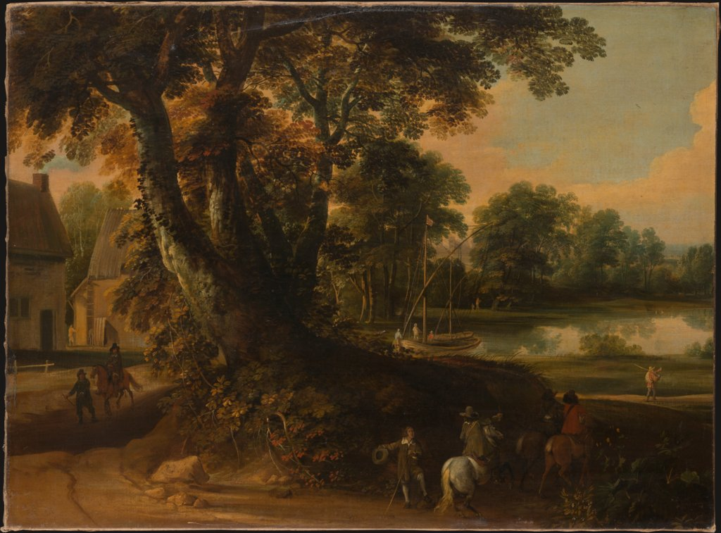 Landscape with a Group of Trees at the Shore of a Lake, Three Riders on the Road in the Foreground, Jacques d' Arthois