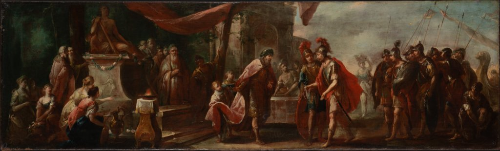 Aeneas Arriving in Latium, Johann Andreas Herrlein   attributed