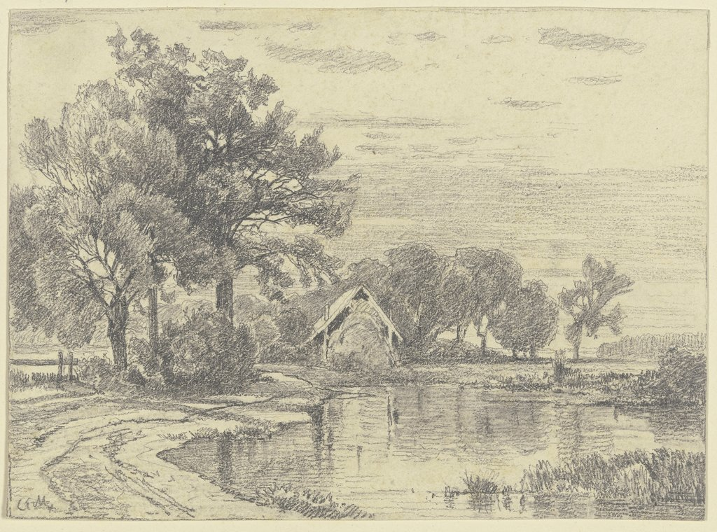 A hut by a pond, Carl Ernst Morgenstern