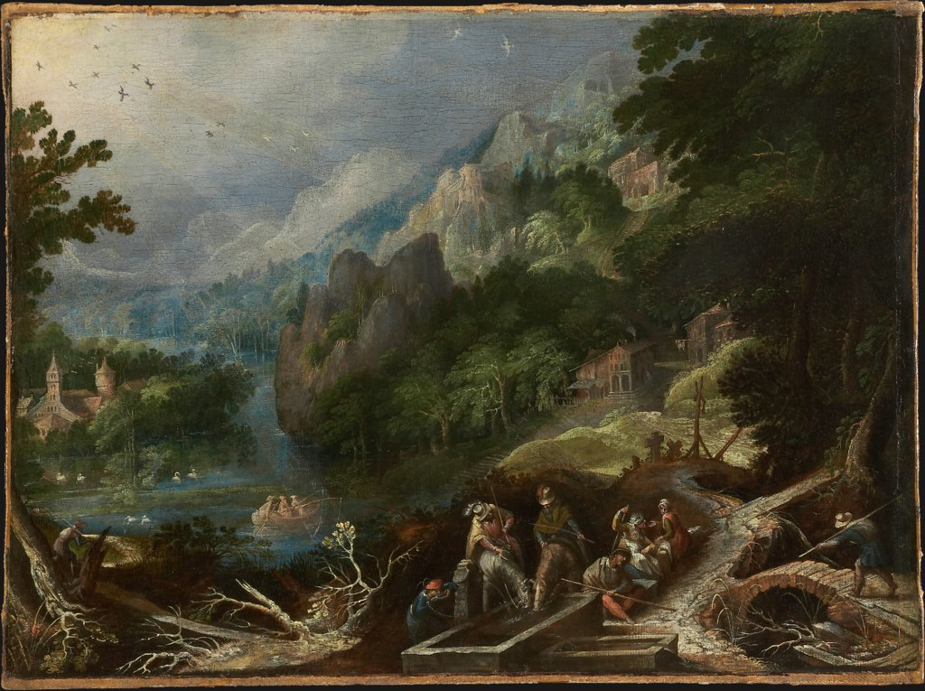 Mountain Landscape with Travelers at a Well, Frederik van Valckenborch