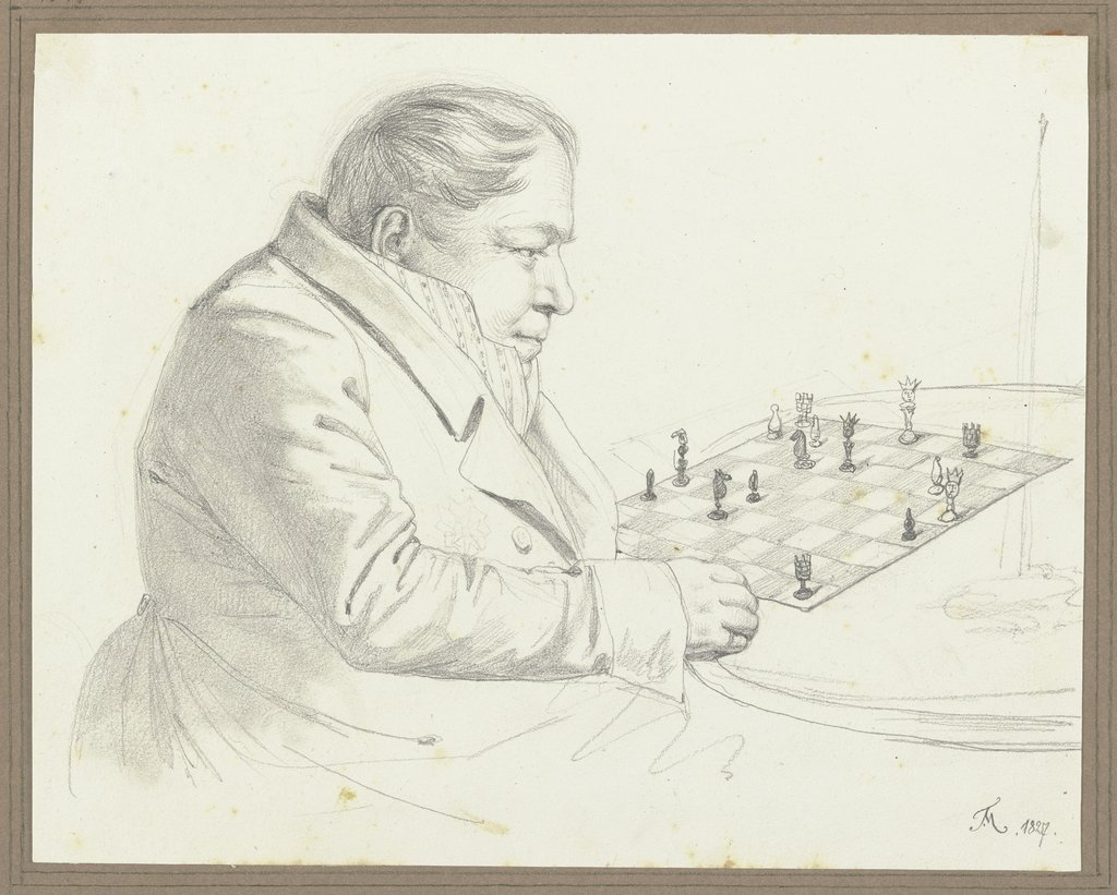 Man at the chess board, Friedrich Moosbrugger