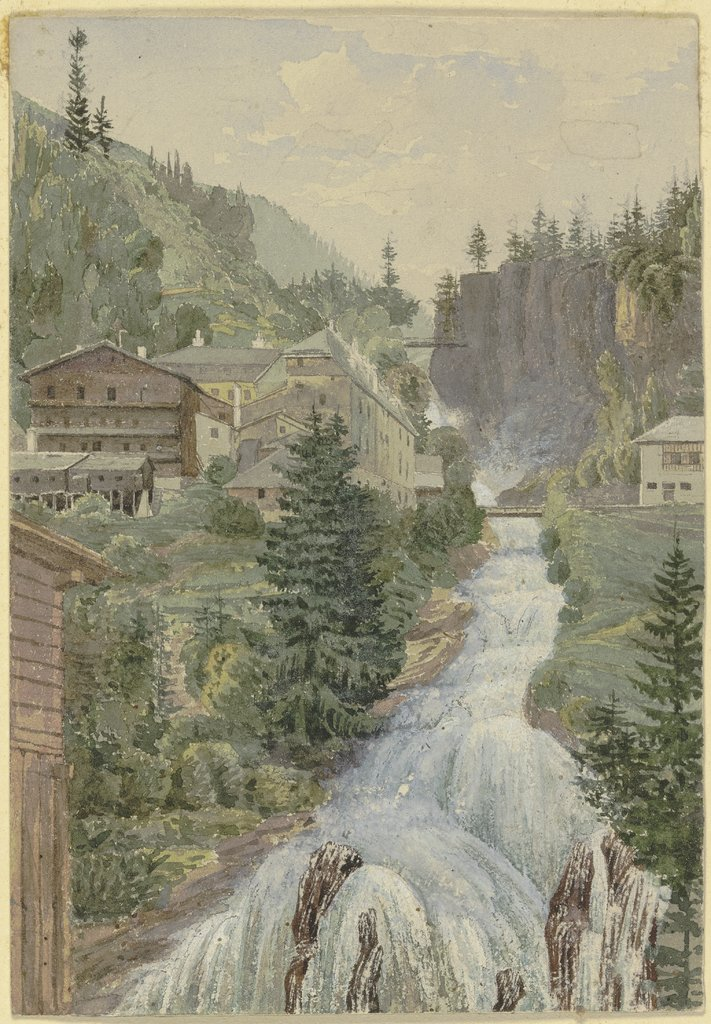 Alpine brook with houses, Georg von Krieg