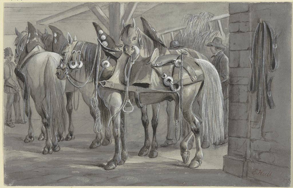 Harnessed horses, Edward Hull