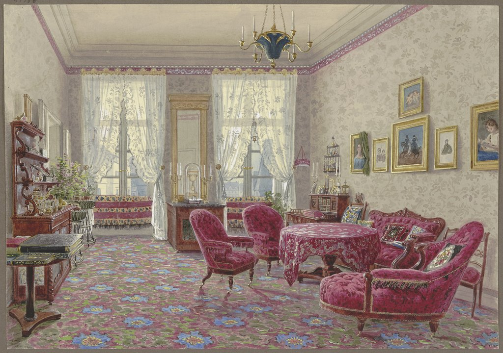 Room with red furniture, German, 19th century