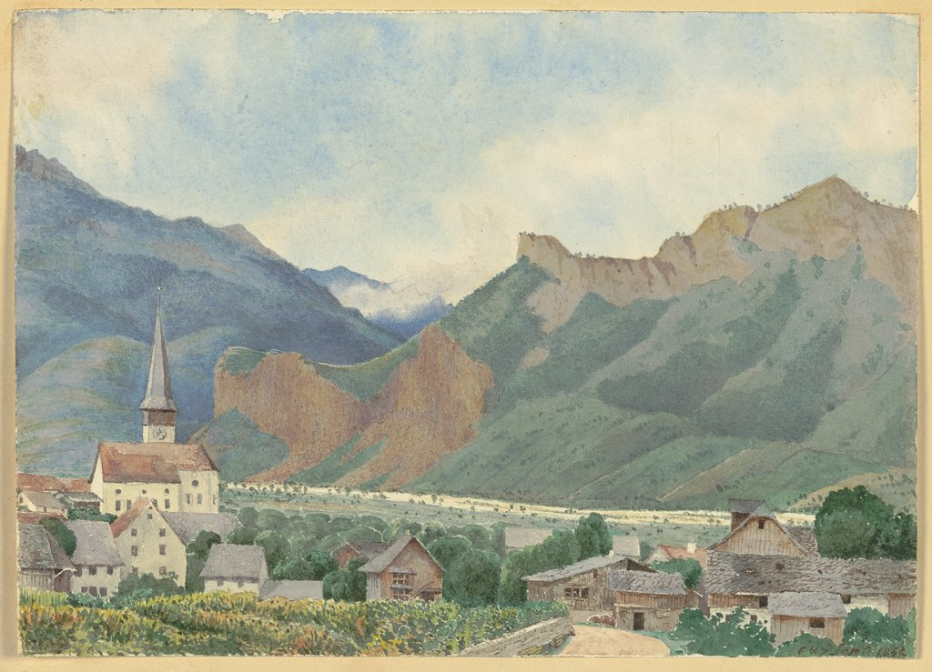 Small village in the mountains, German, 19th century