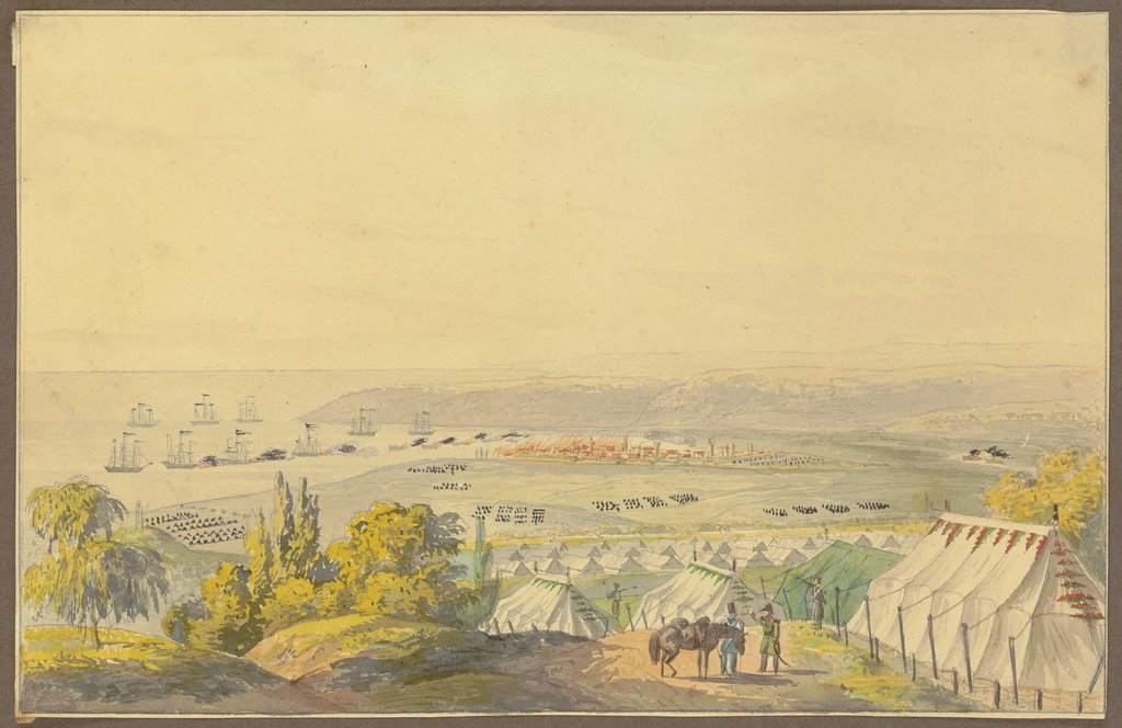 Encampment at the seafront, German, 19th century
