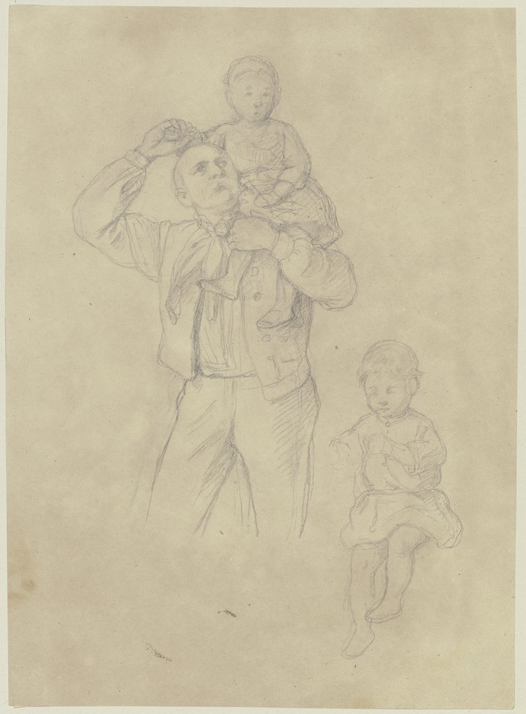 Father with two children, Jakob Becker