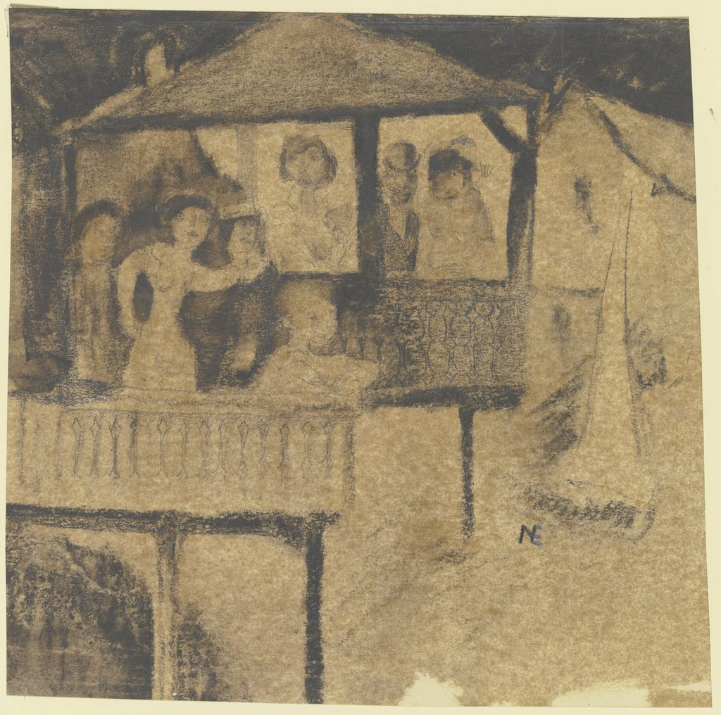 Figurengruppe auf Balkon, Unknown, 20th century