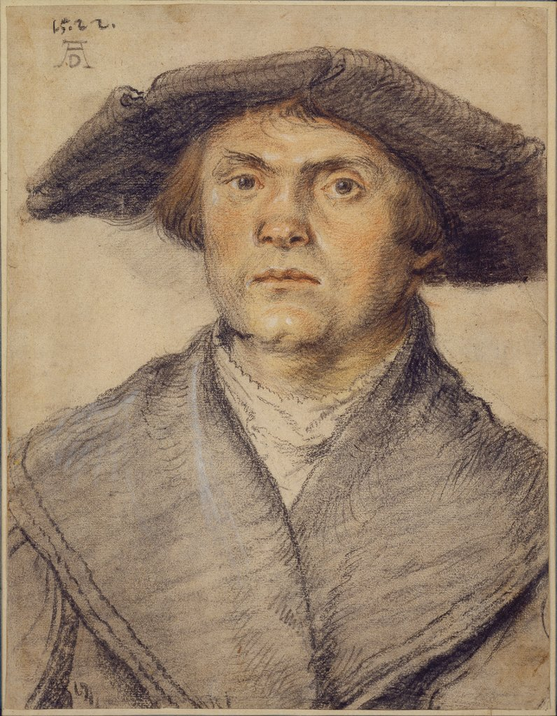 Portrait of a Man Waering a Fur-Lined Coat and Broad-Rimmed Hat, Wolf Huber