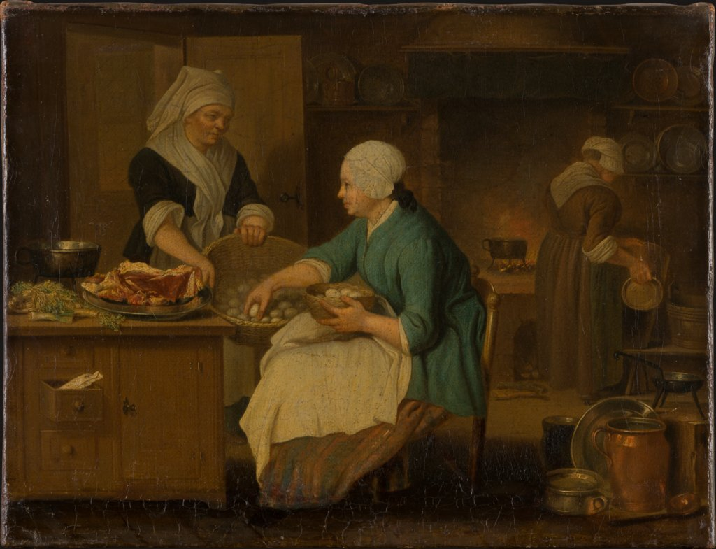 Kitchen Interior with Three Women, Justus Juncker