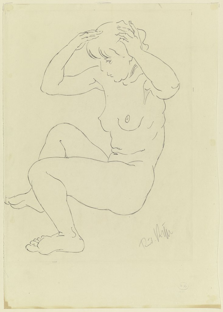 Female nude, sitting, Rudolf Kipp