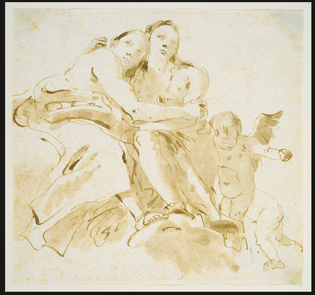 Two Female Figures and Two Putti on Clouds, Giovanni Battista Tiepolo
