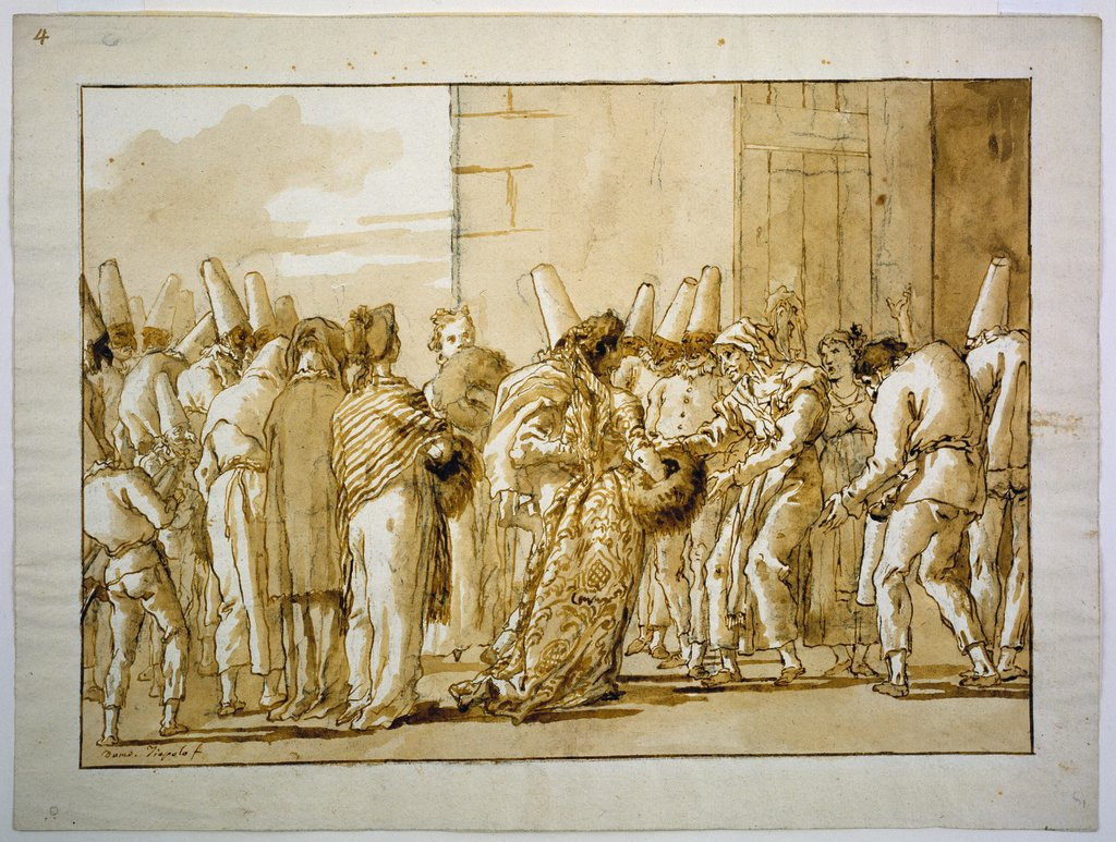 Punchinella's Father Brings Home His Bride, Giovanni Domenico Tiepolo