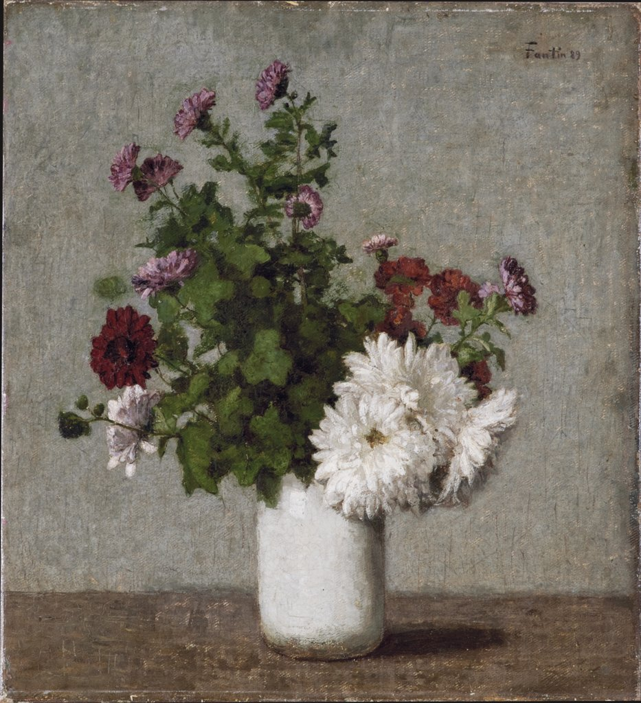 Flower Still Life: Autumn Chrysanthemums in a White Vase, Henri Fantin-Latour