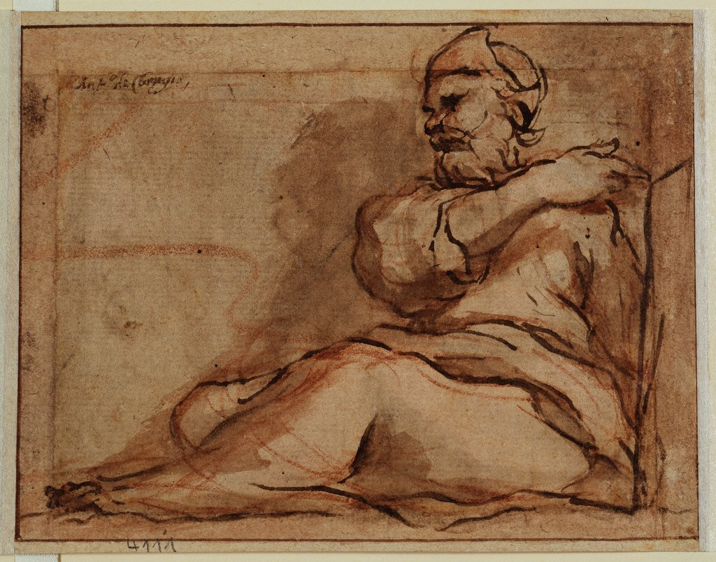 Seated Figure, facing left, Correggio