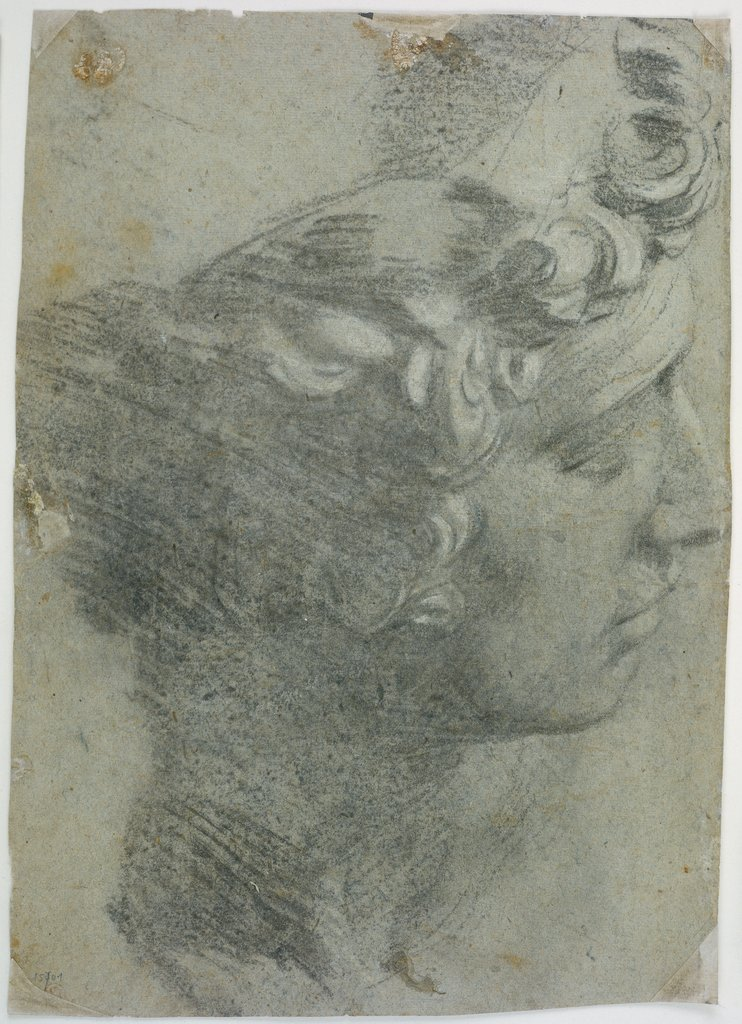 Study after the head of Michelangelo's 'Giuliano de'Medici', Tintoretto, after Michelangelo Buonarroti