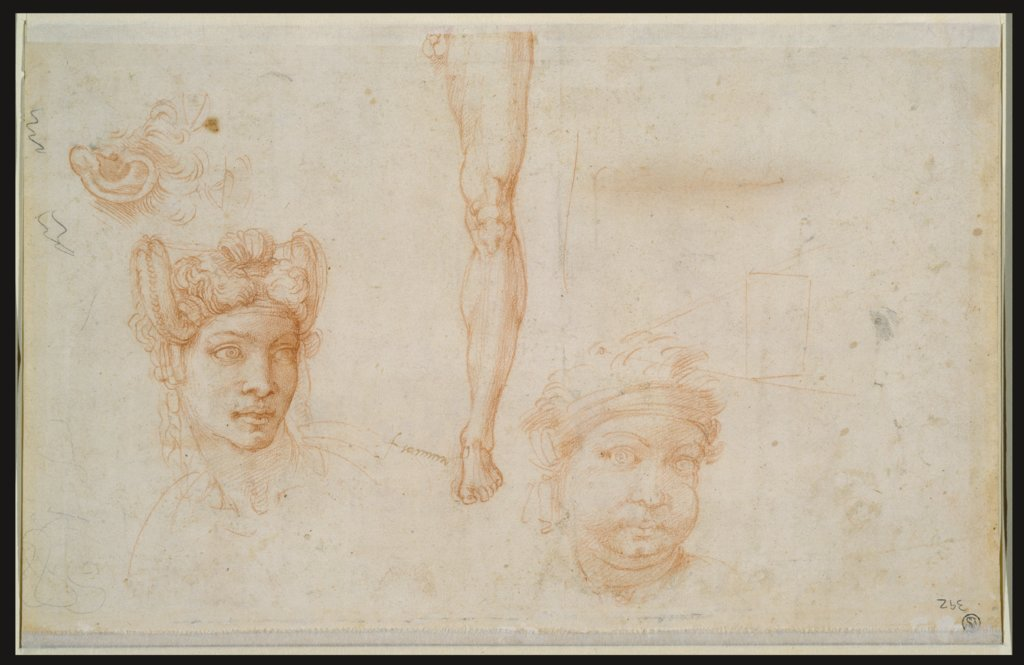 Ear and Two Eyes, Woman's Head with Plaited Hair, Leg Study, Head with Bandage, Scheme of the Pyramid of Vision, Michelangelo Buonarroti, Michelangelo Buonarroti  school