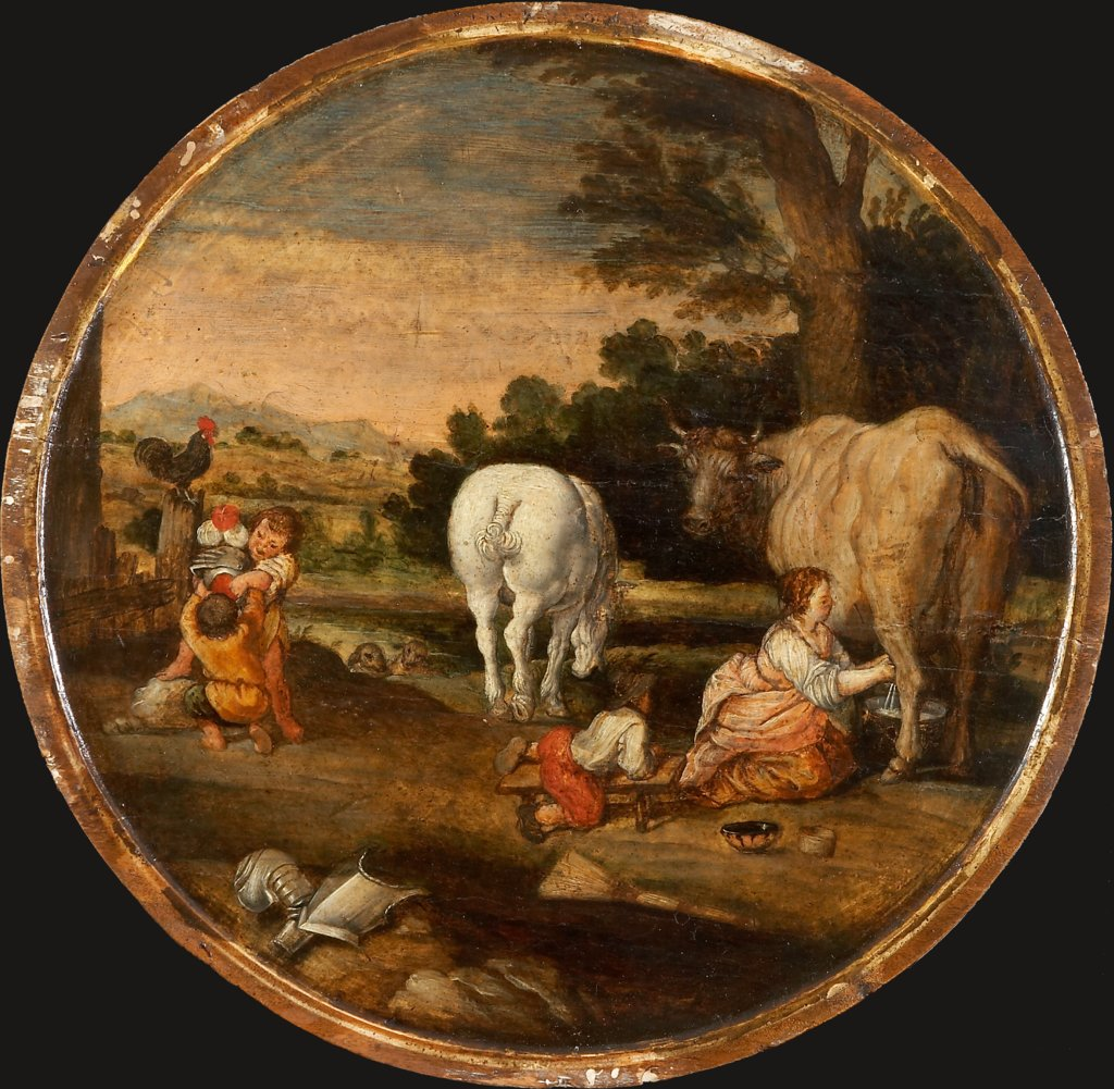 Country Scene with Milkmaid and Children Playing with Armour: March and April, Dutch Master around 1620