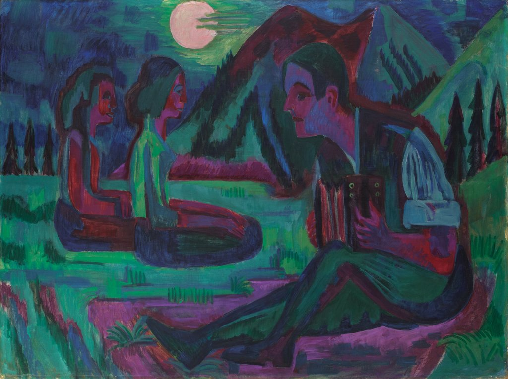 Night Moon; Accordion Player by Moonlight, Ernst Ludwig Kirchner