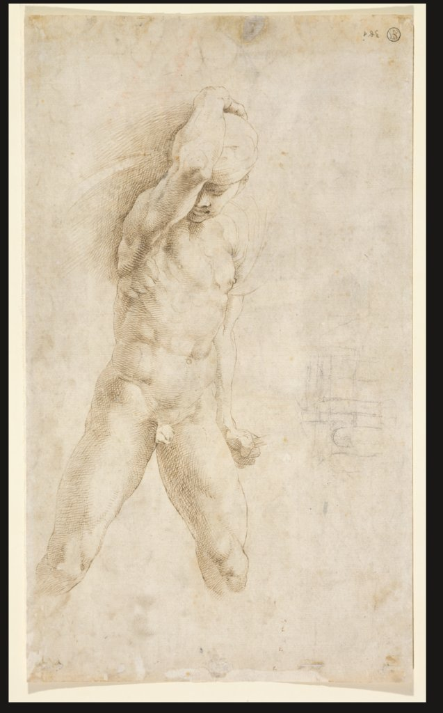 Study of a fighter defending himself (copy after Raphael); sketch of a lunette, Raphael, Raphael  Werkstatt, Giovanni Francesco Penni   ?, Perino del Vaga