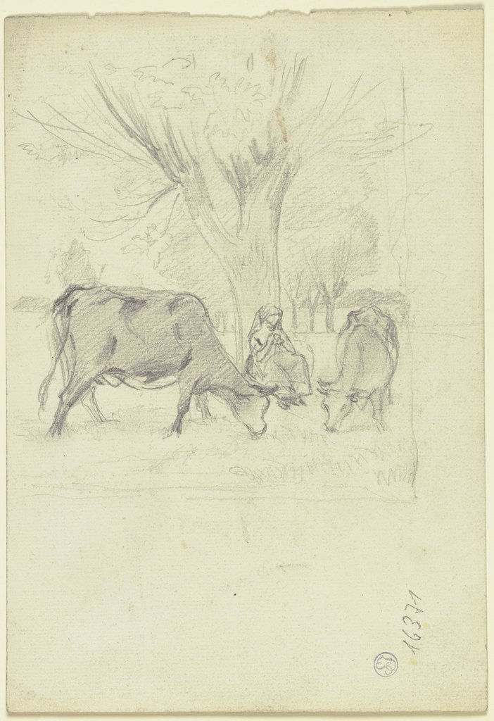 Grazing cows with farmer's wife, Otto Scholderer