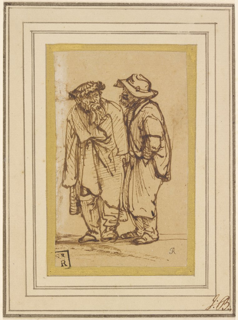 Two men talking, Rembrandt Harmensz. van Rijn  school