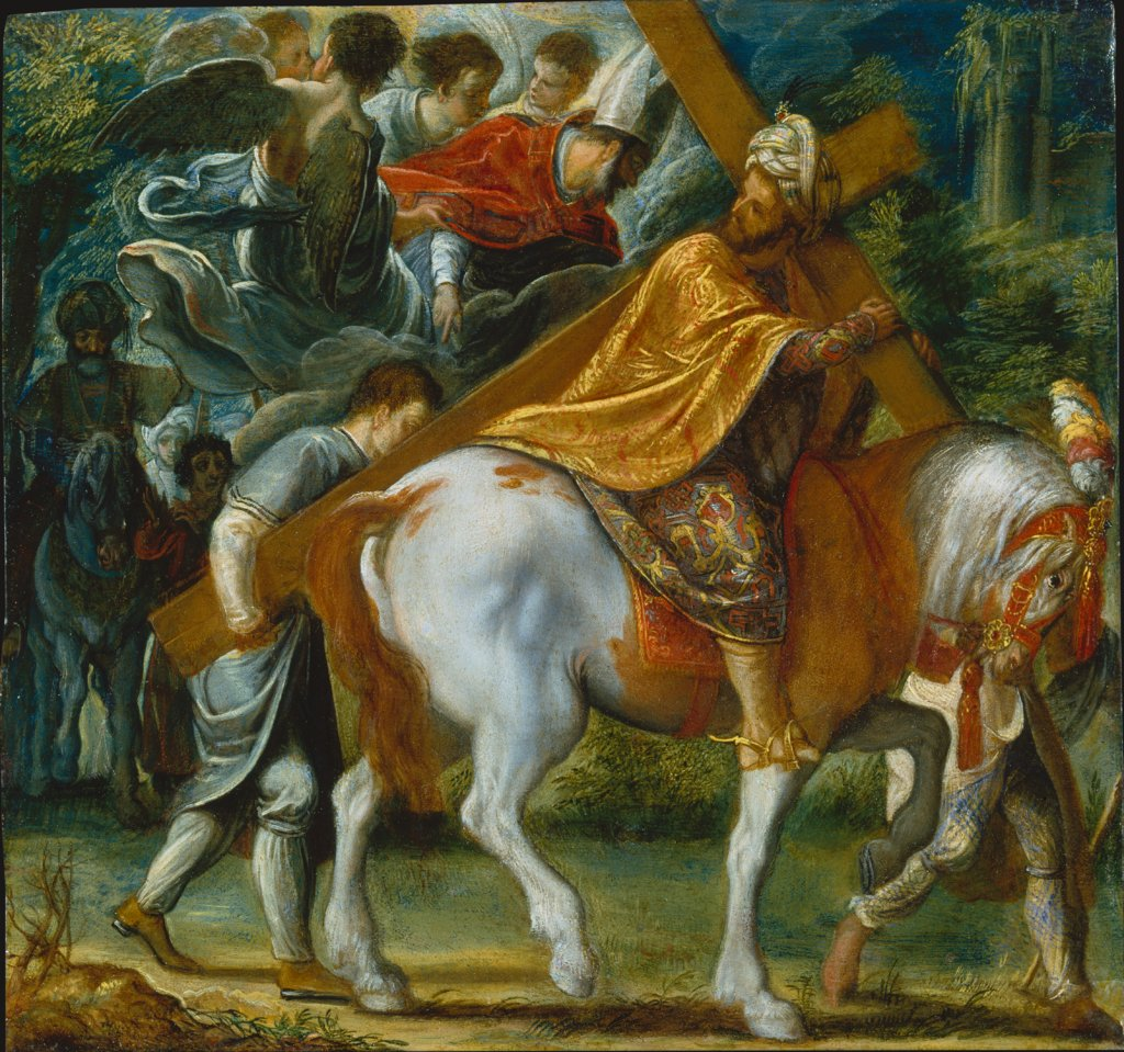 The Frankfurt Altarpiece of the Exaltation of the True Cross: Heraclius on Horseback with the Cross (bottom right), Adam Elsheimer