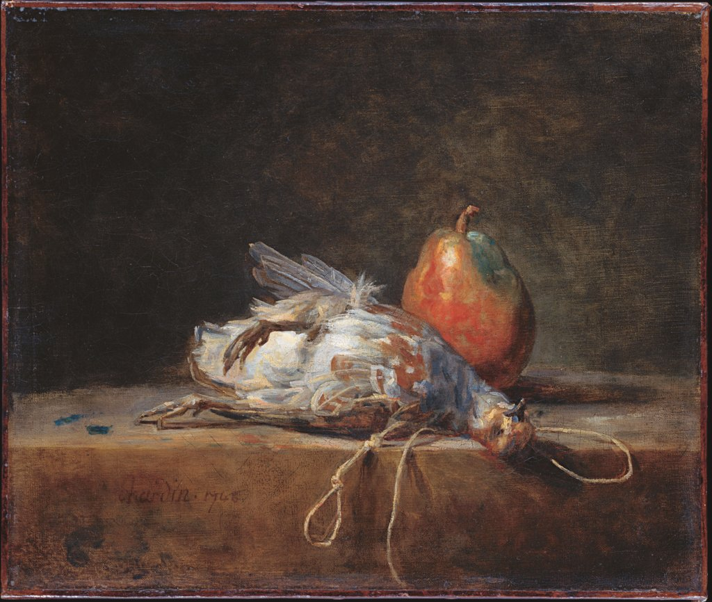 Still Life with Partridge and Pear, Jean-Baptiste Siméon Chardin