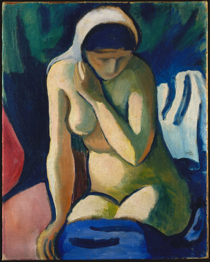Naked Girl with Headscarf, August Macke