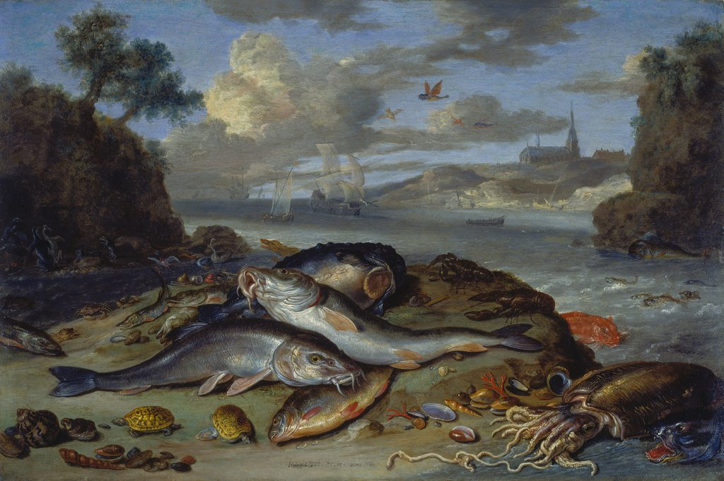 Still Life with Fish and Sea Animals in a Coastal Landscape, Jan van Kessel the Elder