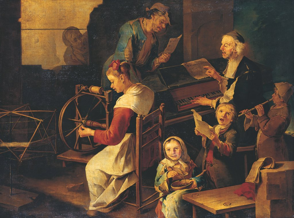 Domestic Scene with Musicians and Woman Spinning, Giacomo Francesco Cipper called Il Todeschini