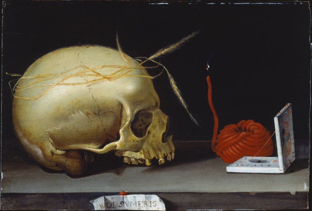 Vanitas Still Life with Skull, Wax Taper and Portable Sundial, German Master around 1620
