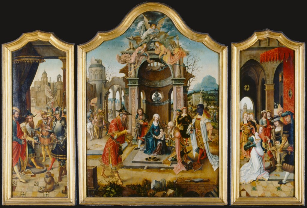Triptych with the Adoration of the Magi and Old Testament Scenes, Master of the von Groote Adoration
