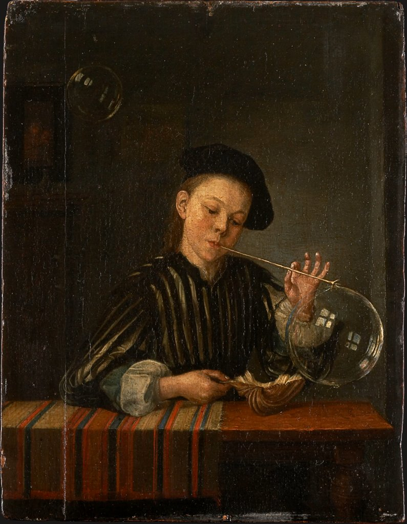 A Boy Blowing Soap Bubbles, Dutch Master of the 18th Century