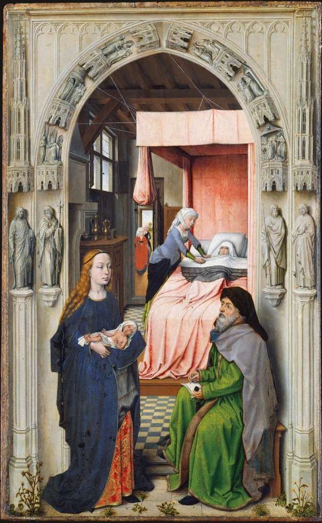 Nativity and Naming of St. John the Baptist, Dutch Master around 1510, nach Rogier van der Weyden