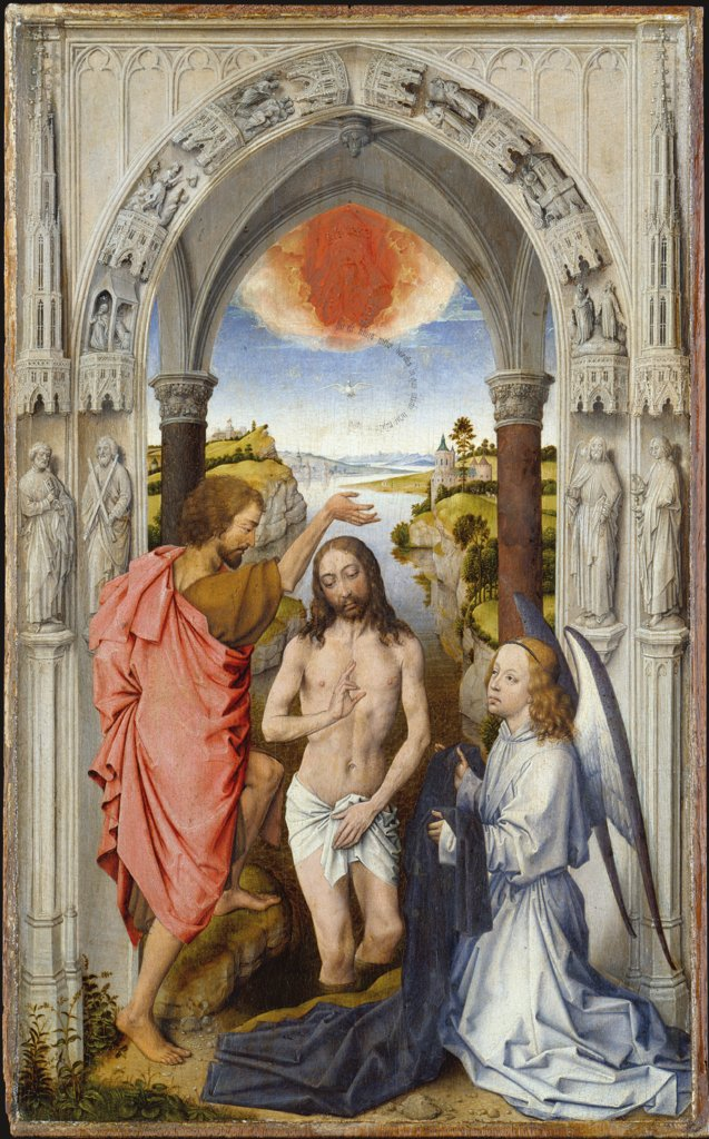 Baptism of Christ, Dutch Master around 1510, nach Rogier van der Weyden